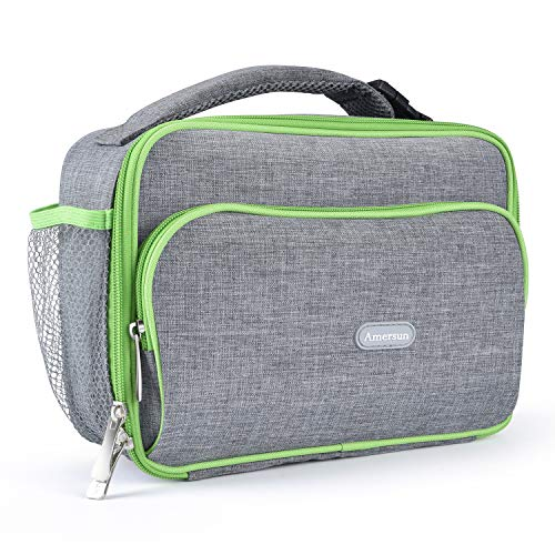 Amersun Kids Lunch Bag, Durable Insulated School Lunch Bag with Padded Liner Keeps Food Hot Cold Longer Time,Small Water-resistant Thermal Travel Office Lunch Cooler for Boys Girls-2 Pockets, Gray -