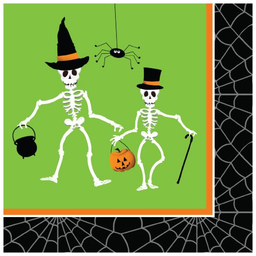 Creative Converting 651164 18 Count Beverage Napkins, Dancing Skeletons, Green/Black -