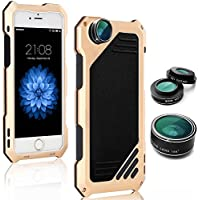 iPhone 7 Camera Lens Kit Case, SHEROX 3 in 1 198° Fisheye Lens + 15X Macro Lens + Wide Angle Lens with IP54 Dustproof Shockproof Aluminum Case, Built-in Screen Protector 4.7 Inches (iPhone 7 Gold)