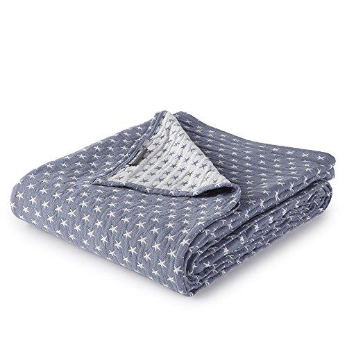 Dawson Star Three Layers Lightweight 100% Soft Washed Cotton Gauzy Blanket (Queen, Blue)