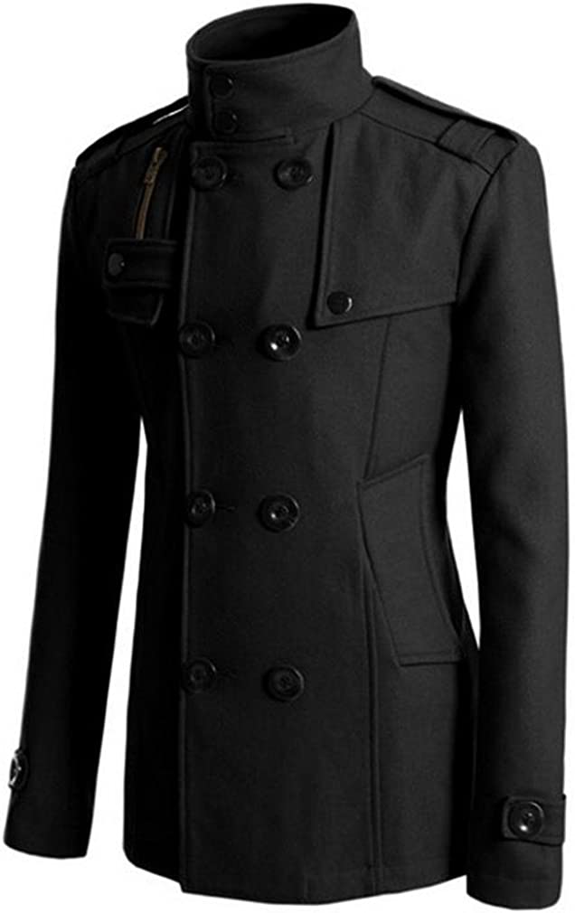 Papijam Mens Casual Wool Blend Lapel Double Breasted Trench Coat Jacket Black s