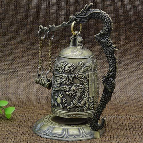 lightclub Lock Dragon Carved Buddhist Good Luck Bell Geomantic for Meditation Altar by lightclub (Image #2)