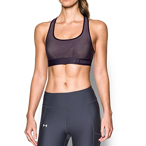Under Armour Women's Armour Crossback Embossed Elastic  Sports Bra, Pale Moonlight/Imperial Purple, Small