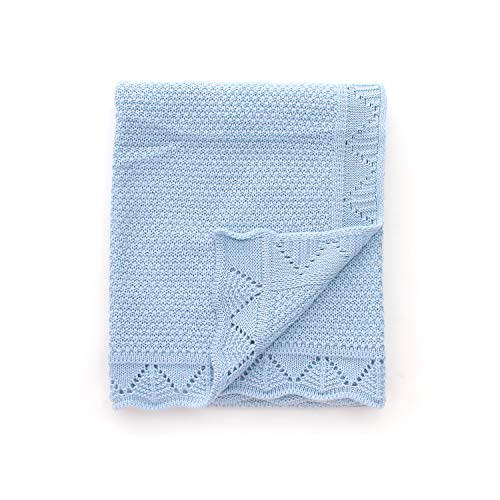 - Baby Blanket Toddler Blanket Knitted Soft for Boys and Girls,Sky Blue,40 inchesx30 inches