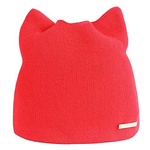 ZOMUSAR Women Autumn and Winter Beanie Hat Russian Caps Warm Cat Ear Design Hats Earmuffs Hat (Red) (Womens Kangol Cloche Hats)