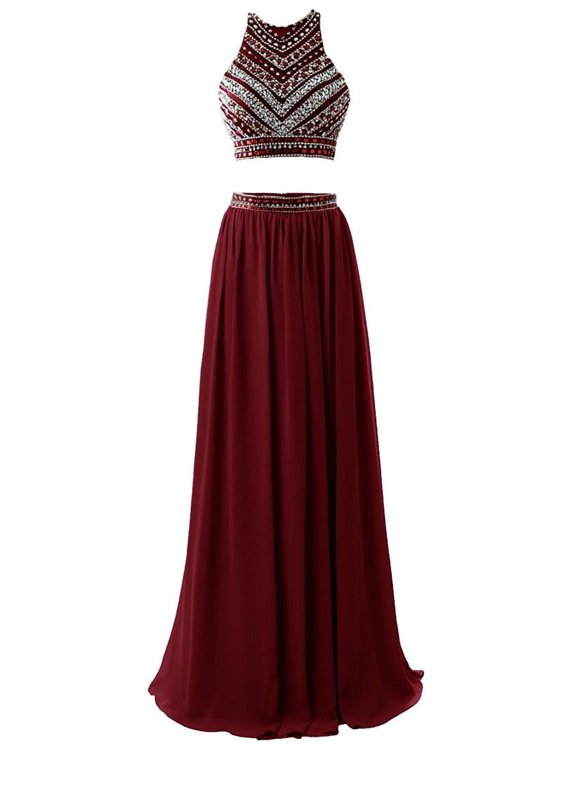 3bcc6d57764c HEIMO Women's 2018 Two Pieces Beaded Evening Party Gowns Sequined Formal  Prom Dresses Long H178 4 Burgundy