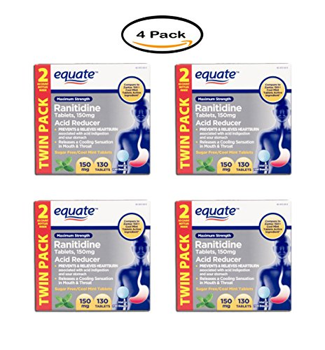 PACK OF 4 - Equate Maximum Strength Acid Reducer Ranitidine