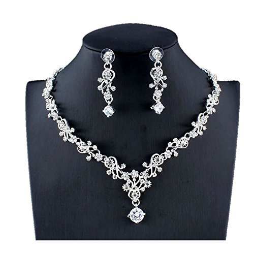 (Elegant Zircon Jewelry Set for Women Silver Plated Bridal Ctystal Flower Drop Necklace Earrings Set for Wedding Gift (344z))