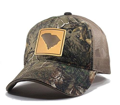 Homeland Tees Men's South Carolina Leather Patch Camo Trucker Hat - Realtree (Carolina Mens Leather)