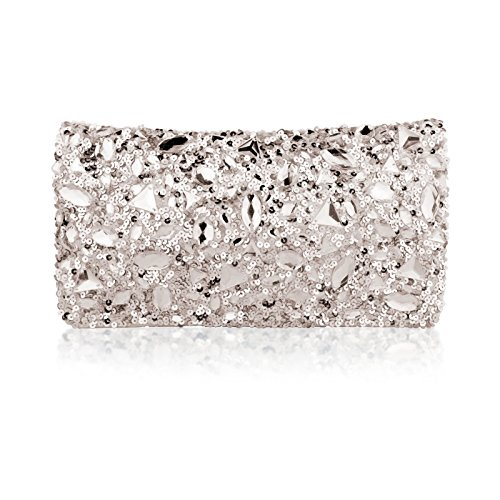 rhinestone silver satin embroidered flat Clutches for women ()