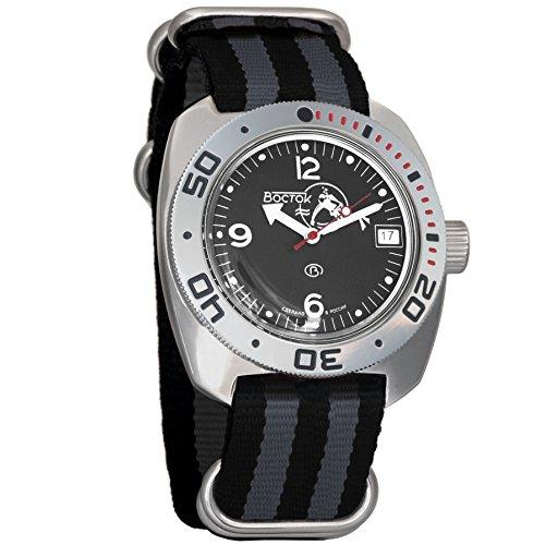 Vostok Amphibian Scuba Dude Mechanical Wrist Watch Blue and Black Dials (710634, Black+Grey)
