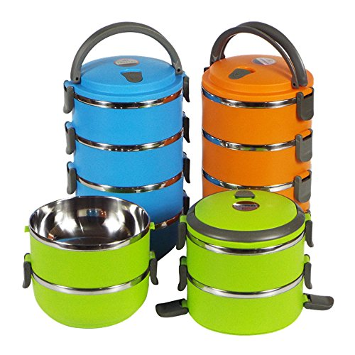 417c86bc028 Galleon - 1 2 3 4 Layer Stainless Steel Bento Insulated Lunch Box Food  Storage Container Thermo Server Thermal (2 Layer