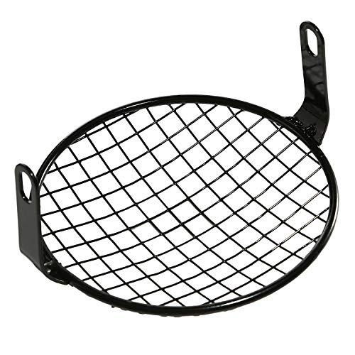 CICMOD Universal Motorcycle Cruiser Bobber 6.25 Inch Retro Grill Mesh Headlight Cover Black (Headlight Motorcycle Guard)