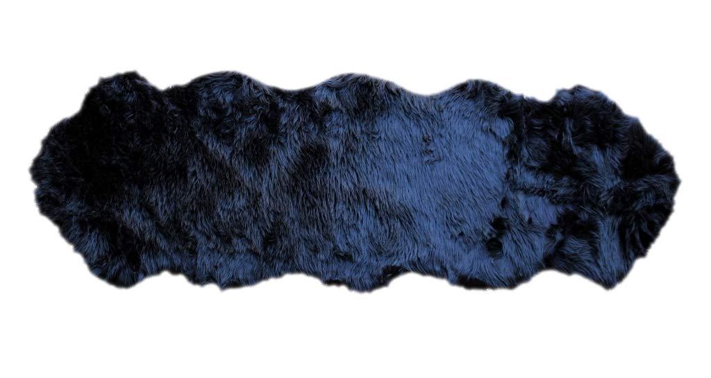 Masada Rugs, Faux Sheep Fur Shag Area Rug Double Animal Shape (2 Feet X 6 Feet) Black by Shag Masada