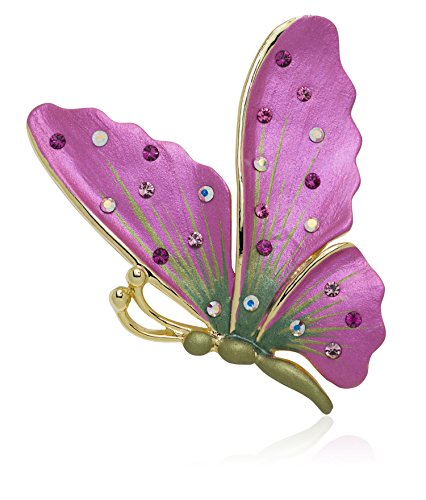 (Akianna Hand Painted Swarovski Element Butterfly Brooch Pin Pink)