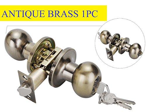 Lock for Exterior Door,Antique Brass Door Knobs, Ball Style Keyed Entry Door Knob Lock with Keys Antique Brass Finish,Antique Brass Finish Entry (Classroom Brass Lock)