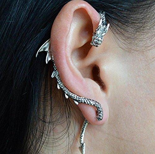 Hujinlder Retro Dragon Ear Wrap Cuff Earring Punk Rock Right Ear (Antique Silver)