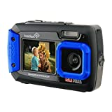 Ivation 20MP Underwater Shockproof Digital Camera & Video Camera w/Dual Full-Color LCD Displays – Fully Waterproof & Submersible Up to 10 Feet (Blue)