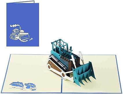 sweetpopup 3d Handmade Tarjetas de felicitación - Tarjetas de felicitación para cumpleaños Invitación aniversario cupones Diseño Máquina Empresas Tarjetas (Bulldozer Tractor): Amazon.es: Oficina y papelería