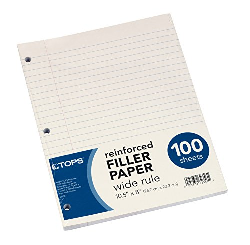 "TOPS Reinforced Filler Paper, Wide Rule, 10-1/2 x 8"", 100 Sheets, (62356)"