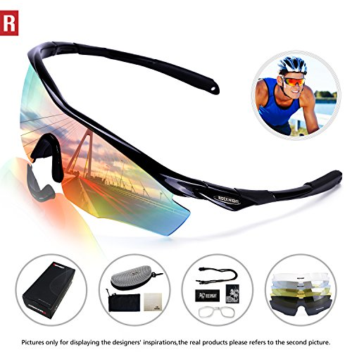 Rocknight Polarized Sports Sunglasses for Men Women with 5 Interchangeable Lenses Cycling Running Driving Baseball Glasses UV Protection Black - Sunglasses Sports Interchangeable