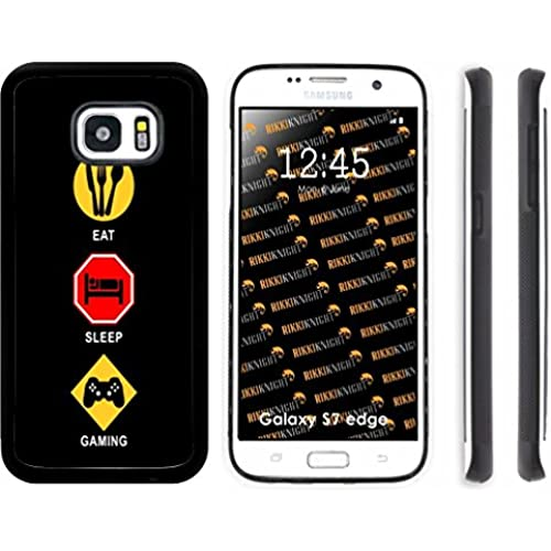 Rikki Knight Eat Sleep Gaming Design Samsung Galaxy S7 Edge Case Cover (Black Rubber with front Bumper Protection) for Samsung Galaxy S7 Edge ONLY Sales