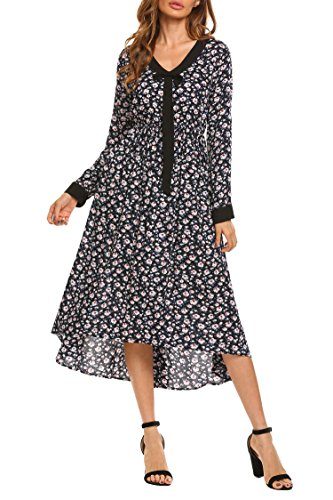 Zeagoo Women's Casual Floral Print V Tie Neck Long Sleeve Long Maxi Resort Dress