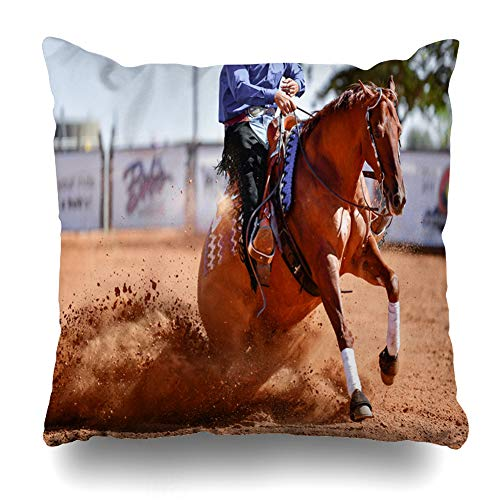 Ahawoso Throw Pillow Cover Square 18x18 Western Clay Side View Rider Jeans Cowboy Chaps Country Catch Sports Recreation Club Competition Corral Design Speed Pillowcase Home Decor Cushion Case