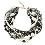 Utop Women's Multi-Strand Cluster Faux Pearl Necklace Black Gray White Deal (Small Image)