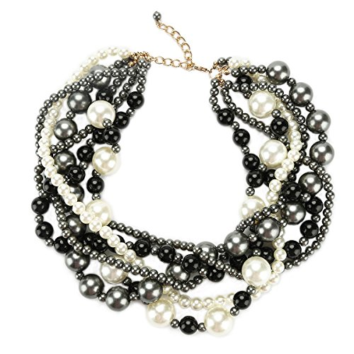 Multi Strand Necklace for Women Simulated Pearl Bead Maxi Choker for Bridal Jewelry Black