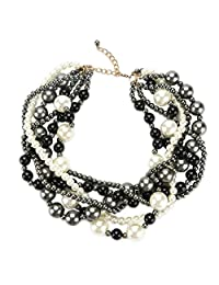 """Utop Simulated Pearl Strand Necklace for Women 8mm Pearl Bead Manual Collar Necklace Black Long 55"""""""