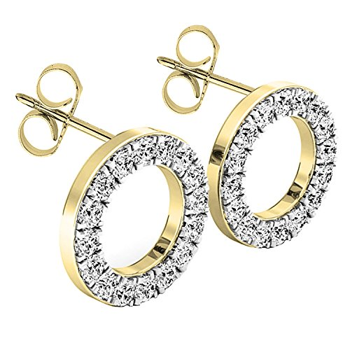(0.50 Carat (ctw) 10K Yellow Gold Round White Diamond Ladies Circle Shape Stud Earrings 1/2 CT)