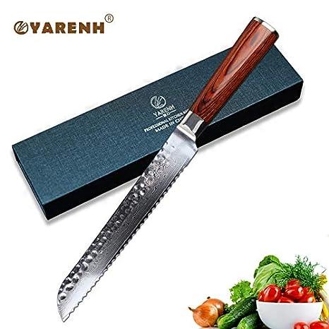 Amazon.com: YARENH Cuchillos de pan de 7.9 in de acero para ...