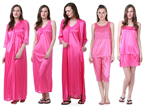 705d5e82fe Claura Women s Satin Pack of 6pc Night Dress  1 NIGHTY+1 ROBE+1TOP+1 CAPRI+1  SPAGHETTI TOP+1 SHORT SKIRT  (Pink) - Buy Online in KSA. Apparel products  in ...