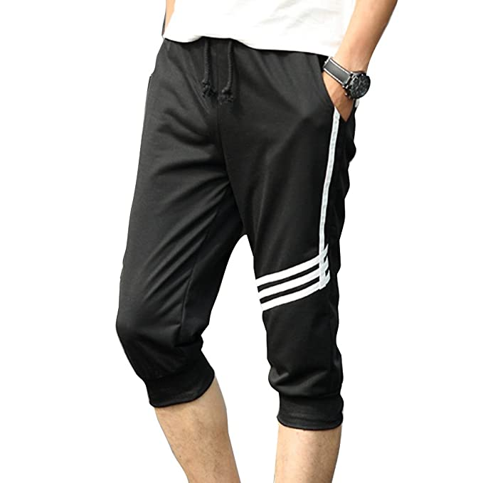 6f7162ef573 Image Unavailable. Image not available for. Colour  Juqilu Men s Shorts  Causal Jogging Pants 3 4 Cotton Knee Length Drawstring Sweat Jersey Trousers