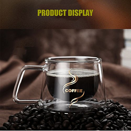 YIFANYU Double Wall Insulated Glass Espresso Mugs Heat Resistant Clear Glass Coffee Tea Cups With Handle by YIFANYU (Image #5)