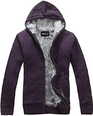 S&S Men's Fashion Faux Fur Hooded Warm Knit Cardigan Sweater Outwear jacket