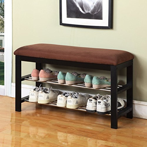 Roundhill Furniture Quality Wood Shoe Bench Storage Rack Black Finish 200 Pounds (Wood Furniture Quality)