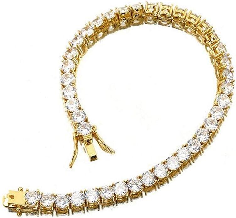 W//W Lifetime 18K Platinum Gold Plated Copper Bling Luxury Iced Out CZ Tennis Chain Gold//Silver Mens Hip Hop Rapper Bracelet Necklace