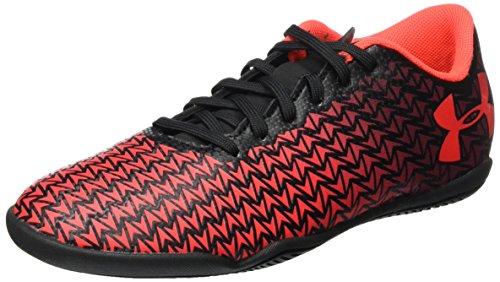Under Armour Kids Unisex CF Force 3.0 IN Jr. Soccer (Little Kid/Big Kid) Black/White/Neon Coral Athletic Shoe