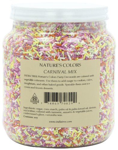 India Tree Nature's Colors Sprinkles, Carnival Mix, 2.9-Pound