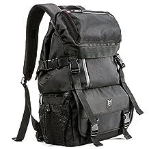 Evecase DSLR/SLR Camera / Lens Kit Travel Rugged Backpack - Black (Water Resistant)