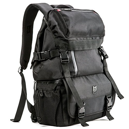 DSLR Camera Backpack Evecase Outdoor Water Resistant MultiPurpose Daypack with Tablet Compartment and Padded Dividers for Nikon Canon Sony and Other Camera and Lens, Tripod, Other Accessories - Black
