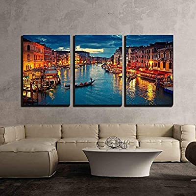 3 Piece Canvas Wall Art - View on Grand Canal from Rialto Bridge at Dusk, Venice, Italy - Modern Home Art Stretched and Framed Ready to Hang - 16