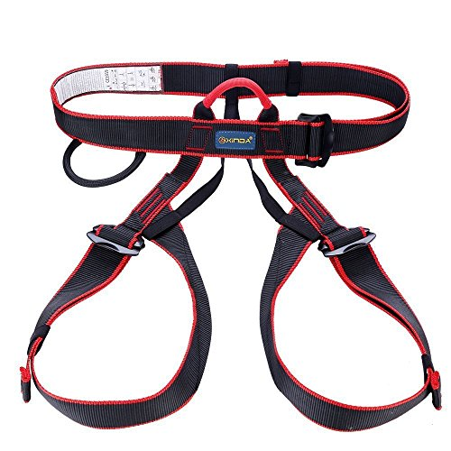 Wildken Outdoor Rock Climbing Half Body Harness Rappelling Safety Work Safety Seat Belts for Mountaineering Black