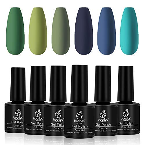 Beetles Green Gel Nail Polish Set with Blue Gel Polish Kit- Olive Green Avocado Green Navy Blue Dark Blue Turquoise Nail Gel Polish Set - UV LED Nail Gel Required, 7.3ml Each Bottle Nail Art Gifts Box
