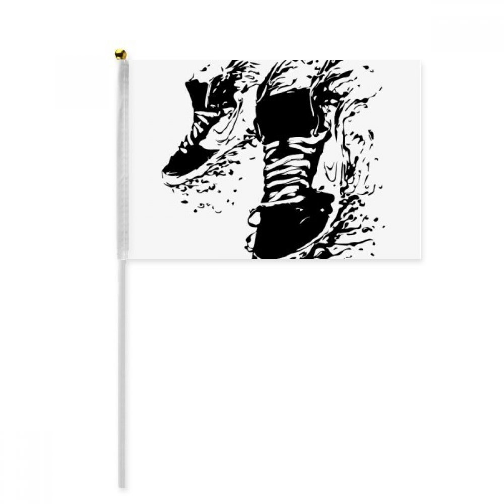 Black Sports Shoes Pattern Illustration Hand Waving Flag 8x5 inch Polyester Sport Event Procession Parade 4pcs