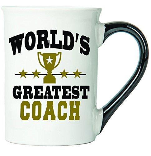 Cottage Creek - Coach - World's Greatest Coach - Large White 18 Ounce Ceramic Coffee Mug With Black Handle - Coach Mug - Coach Gifts