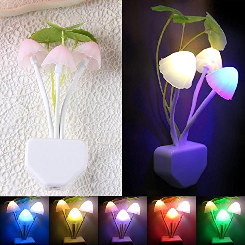 Euone Romantic Colorful Sensor LED Mushroom Night Light Wall Lamp Home Decor Mushroom Accent Lamp