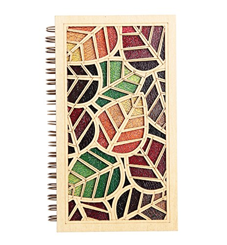Bullet Spiral Journals Book/Diary, Gift Mini Notebook, Leaf Laser Cut Colored Wood Hard Cover Blank Notebook(Oval Leaf)
